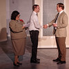Mark Maynard | For The Herald Bulletin<br /> Miss Jones (Michele Mullins), secretary to company president J. B. Biggley, introduces new World Wide Wicket mailroom employee J. Pierrepont Finch (Joshua Wilkinson) to Mr. Gatch (Gabriel Porch), head of the plans and systems department.