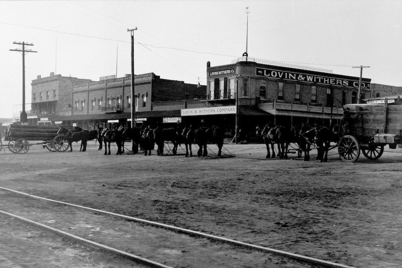 """Kingman, AZ, ca. 1910. According to Pat Foley, of the Photo Dept. of the Mohave Museum, """"This photo was taken some time after 1909.  The tallest building on the left was built in that year. Since there are no autos in the photo I think it would be prior to 1915. The first autos in Kingman were in 1911 (there were only 9 at that time).""""<br /> <br /> 3.25x5.5 negatives shot by Howard Clark on the Navajo Reservation near Window Rock, AZ and Fort Defiance, AZ, ca. 1913-35 while he was a Presbyterian minister there. These negatives belong to his daughter, Betty Von Gausig."""