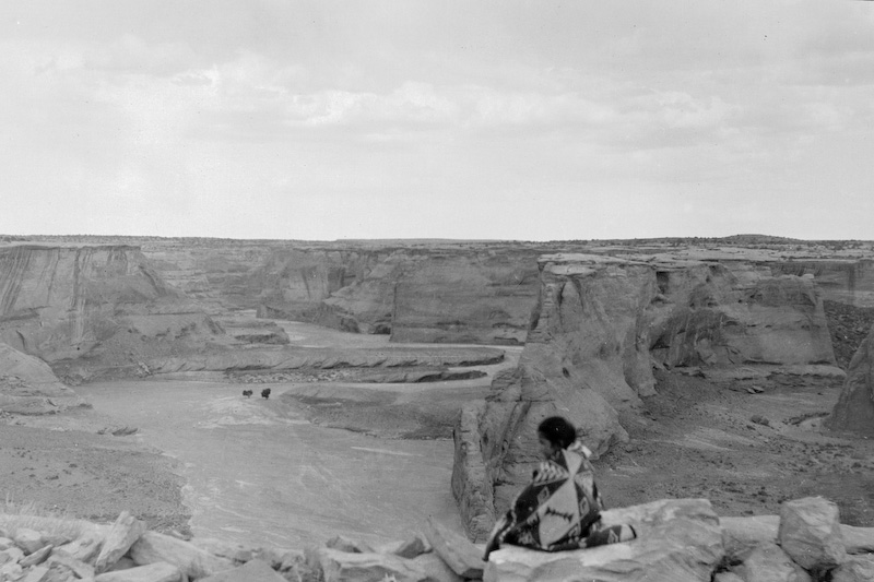 Little Colorado River scene.<br /> <br /> 3.25x5.5 negatives shot by Howard Clark on the Navajo Reservation near Window Rock, AZ and Fort Defiance, AZ, ca. 1913-35 while he was a Presbyterian minister there. These negatives belong to his daughter, Betty Von Gausig.