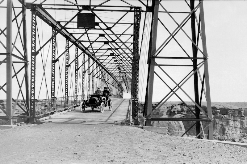 Bridge over the Little Colorado at Cameron, Arizona.<br /> <br /> 3.25x5.5 negatives shot by Howard Clark on the Navajo Reservation near Window Rock, AZ and Fort Defiance, AZ, ca. 1913-35 while he was a Presbyterian minister there. These negatives belong to his daughter, Betty Von Gausig.