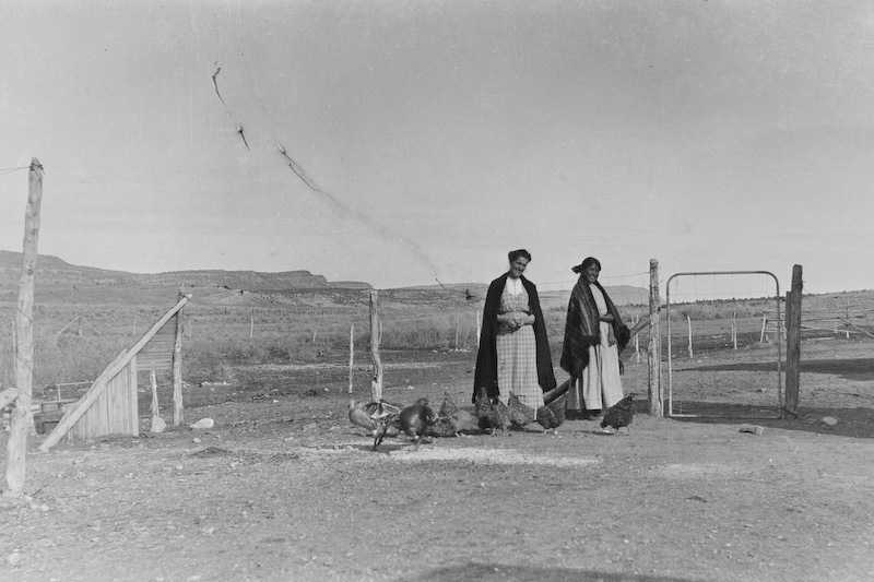 Ethyl Clark (Sawyer) on the left.<br /> <br /> 3.25x5.5 negatives shot by Howard Clark on the Navajo Reservation near Window Rock, AZ and Fort Defiance, AZ, ca. 1913-35 while he was a Presbyterian minister there. These negatives belong to his daughter, Betty Von Gausig.