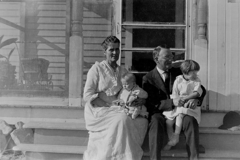 Ethyl Clark (Sawyer) and Howard Clark, with children Elizabeth (right) and David.<br /> <br /> 3.25x5.5 negatives shot by Howard Clark on the Navajo Reservation near Window Rock, AZ and Fort Defiance, AZ, ca. 1913-35 while he was a Presbyterian minister there. These negatives belong to his daughter, Betty Von Gausig.