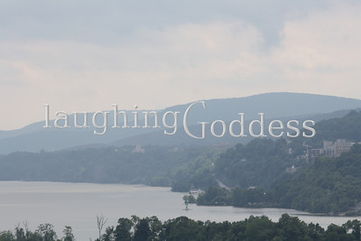 A misty view of the Hudson River view from Boscobel House in Garrison, NY.