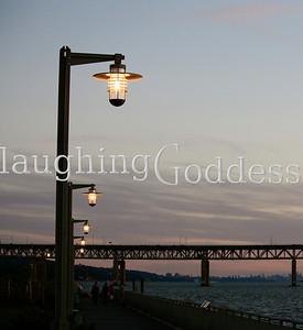 Promenade on the Hudson River at dusk.