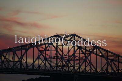 Tappan Zee Bridge, up close, at sunset.
