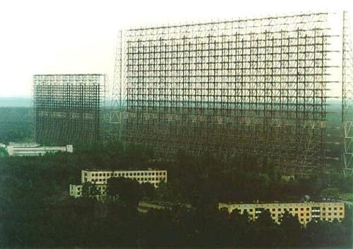 "Russian ""Woodpecker"" near Chernobyl, Ukraine, now known as the Duga-3 system.  Over-the-horizon low frequency radar, operated 1976 - 1989, NATO called it the ""Steel Yard.""  The large array is 1465 feet long and 500 feet high."