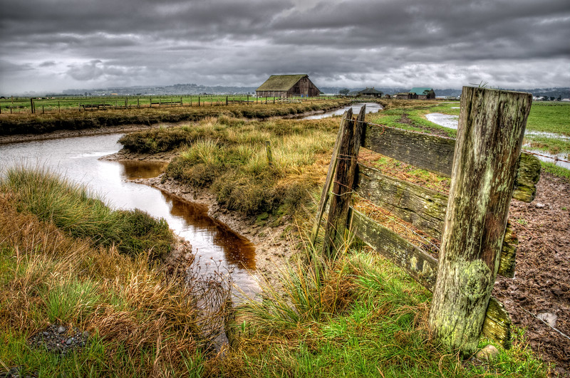 Storm clouds threaten behind a brackish tidal stream in the Arcata Bottoms, Humboldt County, CA. March 2011. [Arcata Bottoms 2011-03 HDR 03 Humboldt-CA-USA_tonemapped_TM]