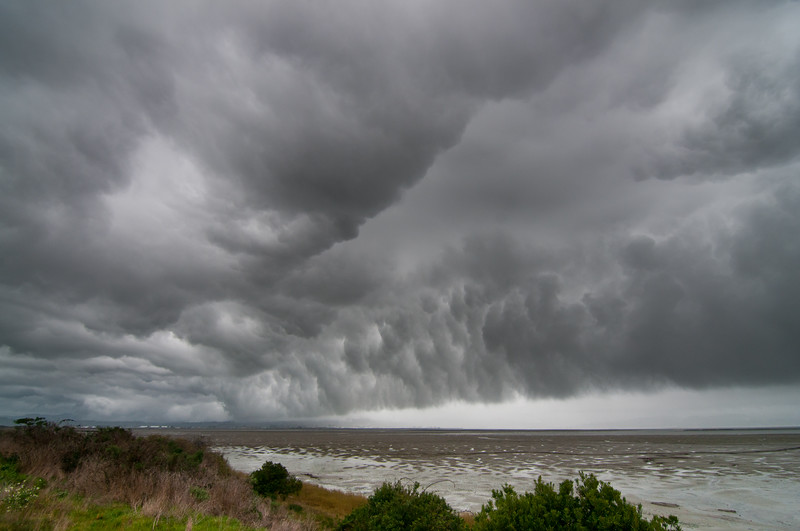 Glowering clouds of incoming storm, Manila, Humboldt Bay, California, March, 2011.