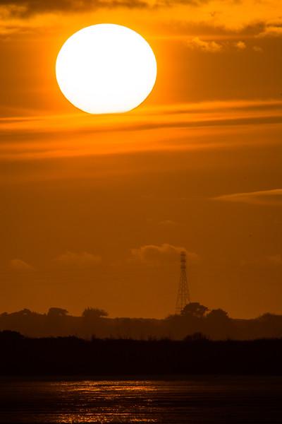 Setting sun across Humboldt Bay as seen from Arcata Marsh, April 2015. [Humboldt Bay 2015-04 002 Arcata-CA-USA]