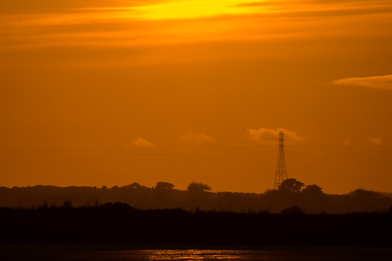 Looking across Humboldt Bay to Manila in the sunset, as seen from Arcata Marsh, April 2015. [Humboldt Bay 2015-04 001 Arcata-CA-USA]
