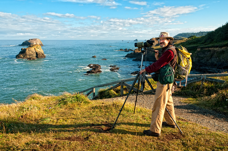 Gary Bloomfield, incredibly talented natural history artist, birdwatching at Elk Head, near Trinidad, California, June 2012.