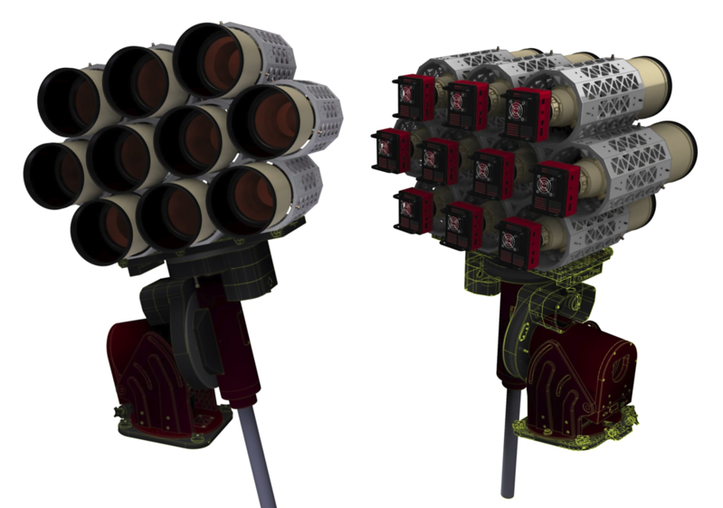 CAD model of a 10 lens Huntsman Telephoto Array