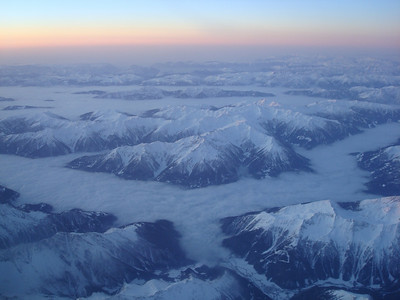 View of the Alps from the plane.