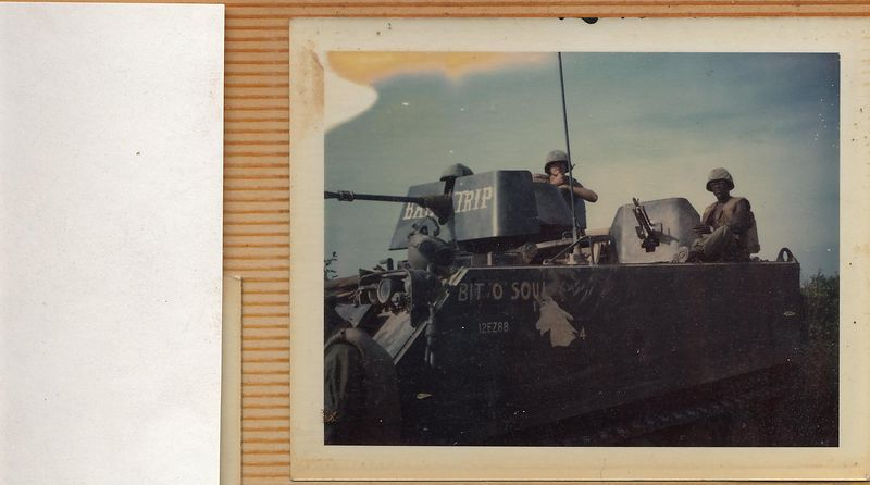 This was taken in about June or July of 1968.  I am sitting behind the 50 cal, I was the Track Commander of this ACAV.  To my right sitting behind the M-60, is one of my gunners, I can only remember his last name I think it was Washington.  There was a custom in the 1/4 Cav. we named our Tracks and gun-shields.  This Tracks number is B-32.