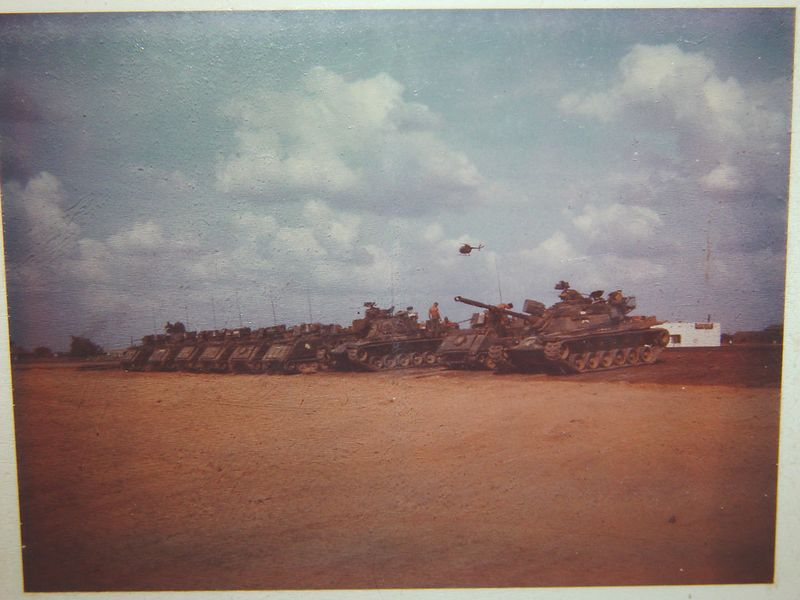 This is almost the entire 3rd Plt. in a full platoon there are 3 tanks and 7 ACAV's.  In this photo we are missing one tank that was lost in combat and has not yet been replaced.  This was taken at our old base camp in Phu Loi.