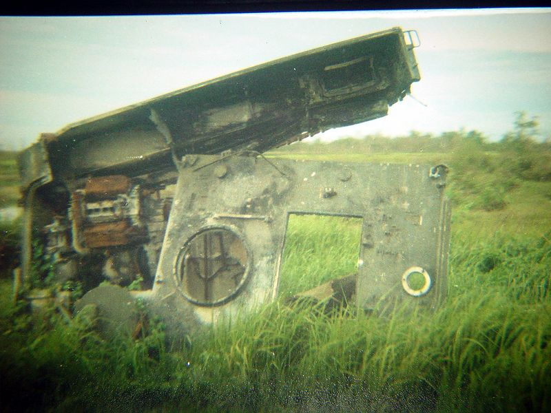 This is the remains of an ACAV, that hit a very large mine or most likely a booby trapped unexploded bomb.