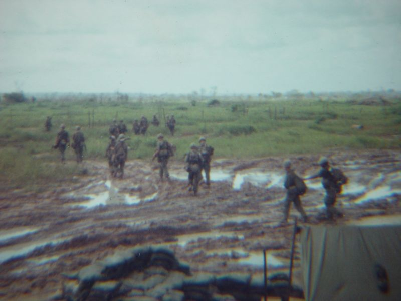 Infantry leaving on a morning patrol.