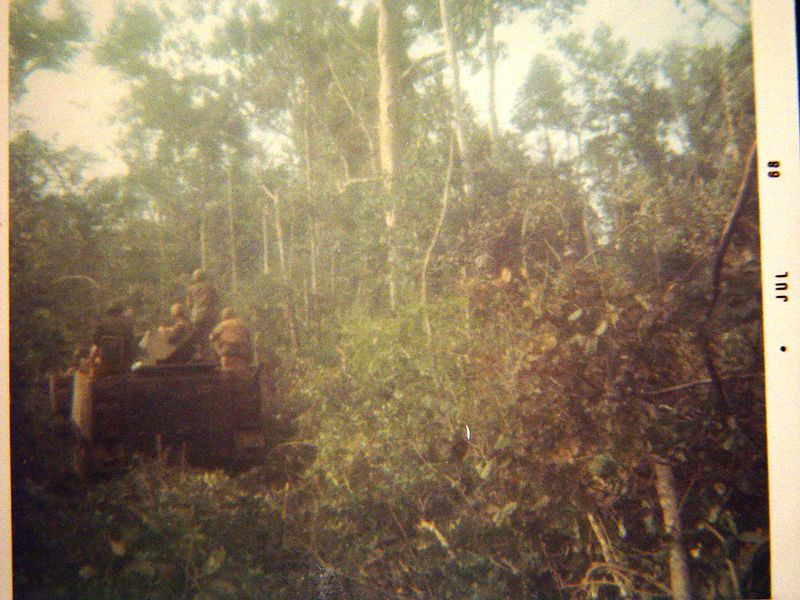 """Here we are """"busting jungle"""", we would put our Tracks on-line in sparsely vegetated jungle and crash though in an effort to force the enemy from his fortifications.  In thick heavy jungle such as in this photo, we would put a tank in front then follow behind with the ACAV's in a column."""