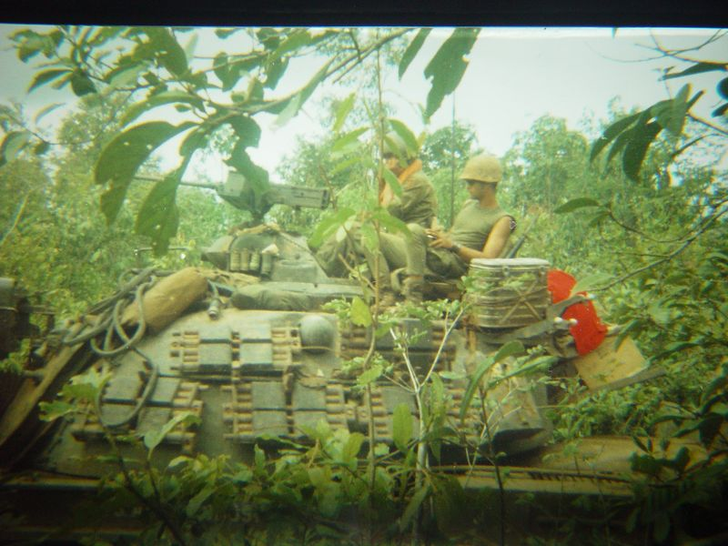 Turret of M48A3, pulling security for the Combat Engineers while they do road repair work.