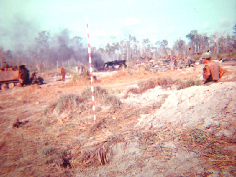 This was taken the morning of November 1st. 1968. It is the still burning remains of my Track, B-32.  This was at Fire Base Rita.  During this battle my unit lost over 10 dead and many more wounded, we killed close to 300 NVA and VC.  We were attacked in waves, this was one of the worst battles I was in.
