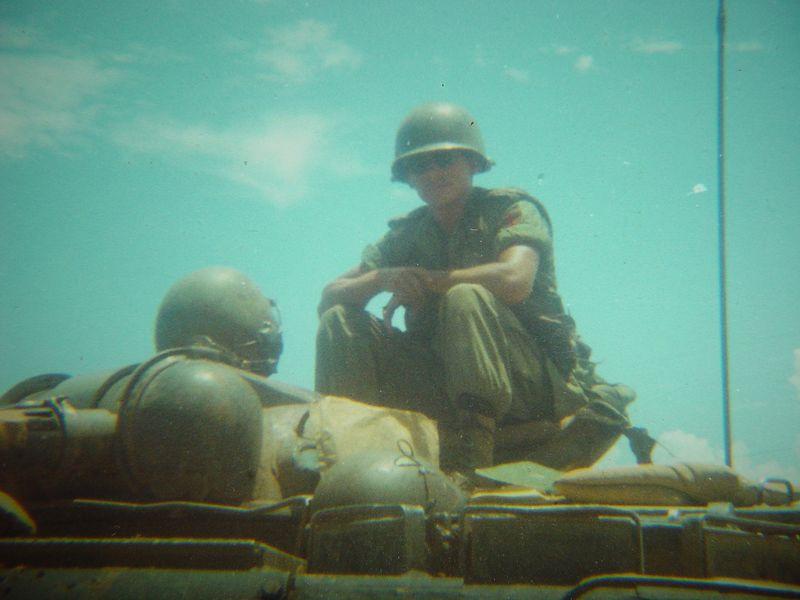 My friend Papino, sitting behind the flame gun.