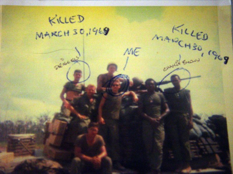 "The man circled with the caption ""me"" is Papino this is his photo Driggers and Charlie Brown were killed in action."