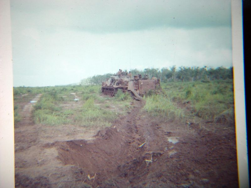 A VTR towing away the destroyed ACAV.