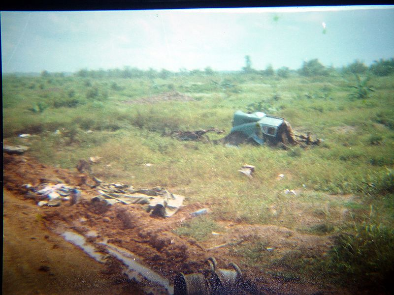 This is the remains of a civilian truck that hit a land mine.