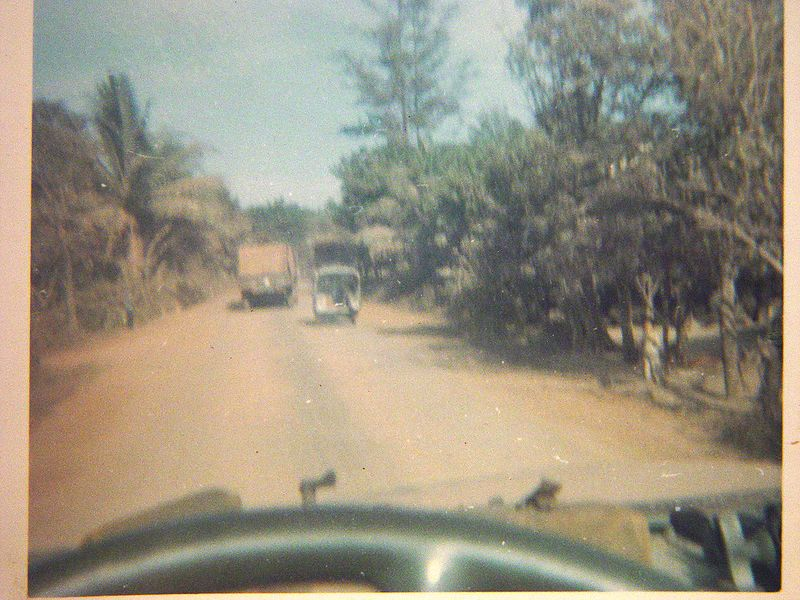 Driving into the village of Chon Thanh.