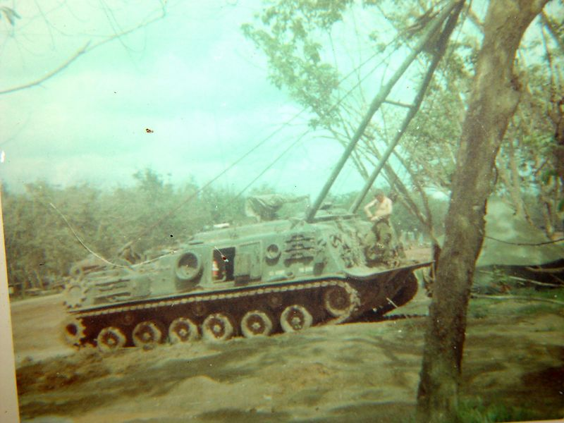 This is a VTR, ( Vehicle Tracked Recovery ) it is a armored wrecker built on a M-48 chassis.  The wrecker boom is extended in this photo, it was used to lift and pull engines and drive train items while in the field.  The crews of these rigs accompanied us into the field and were often times called upon to retrieve damaged Tracks during the heat of battle.  These were some brave men with a tough and thankless job.
