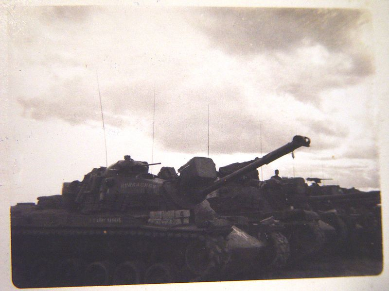 Tanks of the 3rd. Plt. lined up in the motor-pool at Phu Loi, before leaving on an operation.