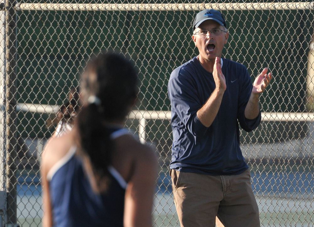 Description of . Sean Comadena tennis coach for Redlands High School has been named Coach of the Year to The Sun and Inland Valley Daily Bulletin's All-Area tennis team. John Valenzuela staff photo Inland Valley Daily Bulletin.