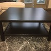 IKEA Hemnes Square Coffee Table, Gray Shag Floor Rug with beige pattern