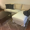IKEA Ektorp Sectional with Chaise, Hemnes Black/Brown Square Coffee Table, 2 Pillows and Afghan, Gray Shag Floor Rug with beige pattern