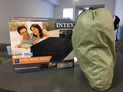 Intex Queen Raised Airbed - used once, brand new