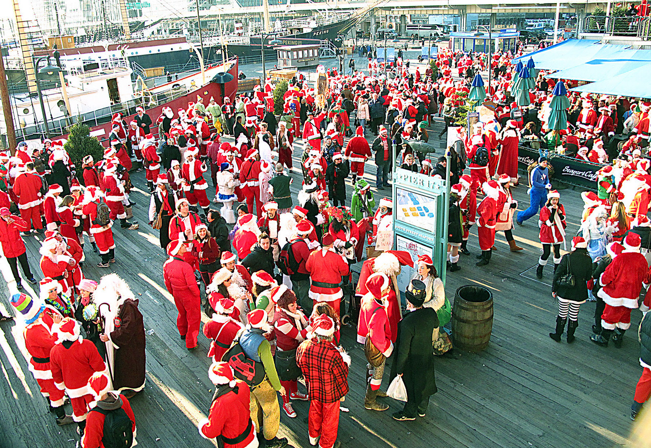SANTACON AT SOUTH STREET SEAPORT, NEW YORK CITY. SANTAS AS FAR AS THE EYE CAN SEE