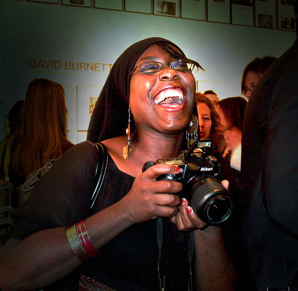 Photographer at the Obama Campaign photo show at the Leica Gallery, New York City. Digilux 1