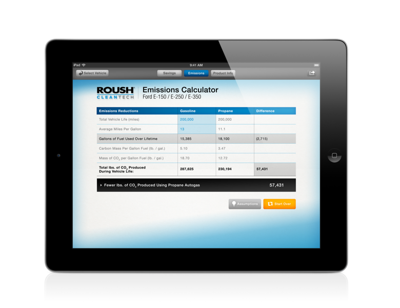 The ROUSH CleanTech app includes an emissions calculator to estimate carbon dioxide emissions reductions.