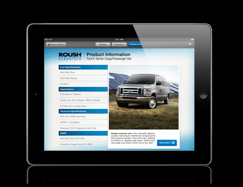 The ROUSH CleanTech app contains vehicle descriptions of the propane autogas models available.