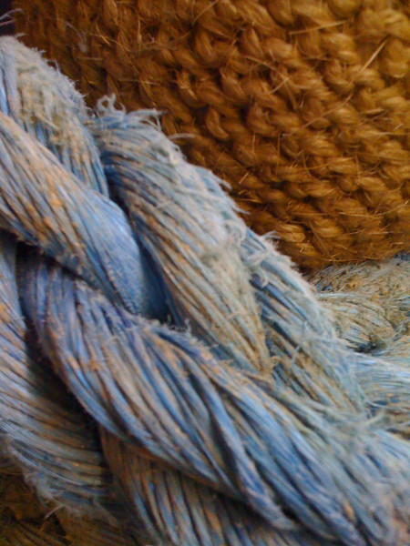Rope and basket at a Tarpon Springs antique store.