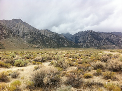 July 30, 2011.  Mt. Whitney from the desert on a stormy day.