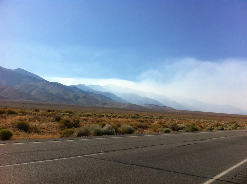 August 4, 2011.<br /> <br /> Smoke from the Lion Fire near Olancha.