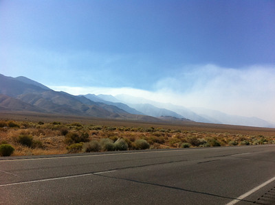 August 4, 2011.  Smoke from the Lion Fire near Olancha.