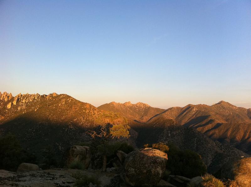 Perpendicular Peak summit view.<br /> <br /> Lamont Peak. Spanish Needle and Owens Peak.