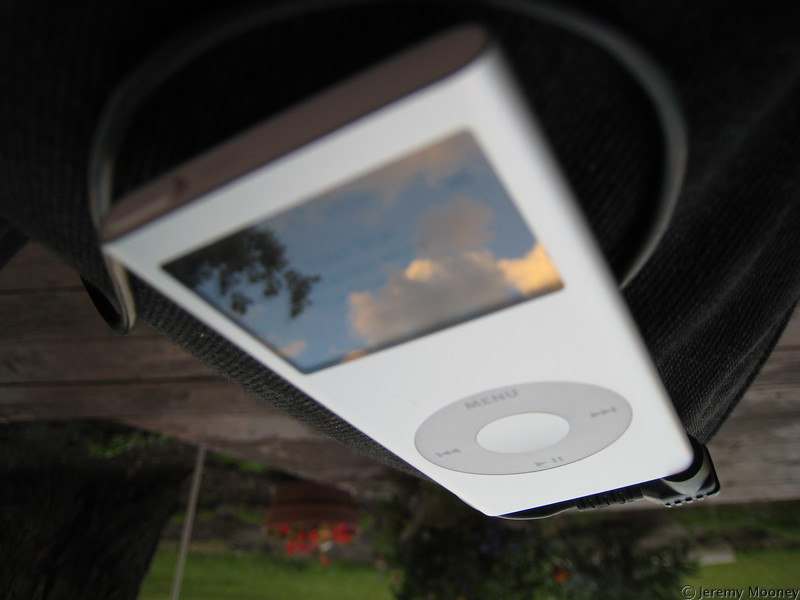 Reflections - the sky in my iPod screen, focus on the iPod
