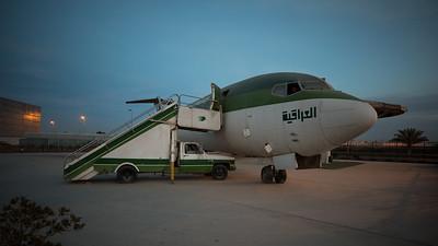 A Iraqi Airways Boeing 727 on static display near Baghdad International Airport.