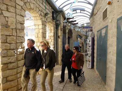 Mike and Tammie, David and Ellen walking through the artist's quarter in Tzfat