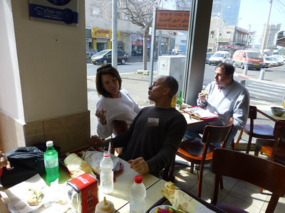 The Leslie and two Davids having Shwarma in Haifa