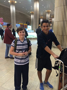 Bar Mitzvah boy Jacob Harris with Einat's nephew at the airport