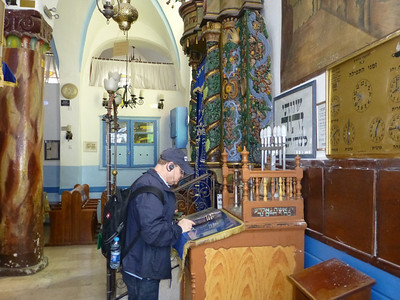 Bruce Birnbaum trying out the podium at the synagogue